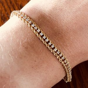 14k Yellow Gold Diamond Rope Tennis Bracelet